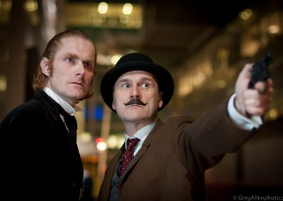 Sherlock Holmes and Dr Watson Murder Mystery Actors Outside