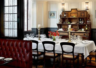 Private Dining Room at the Mandeville Hotel London Set For Murder Mystery Dinner