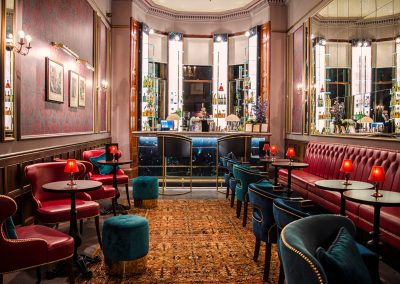 The bar and seating area at the Bonham Hotel in Edinburgh