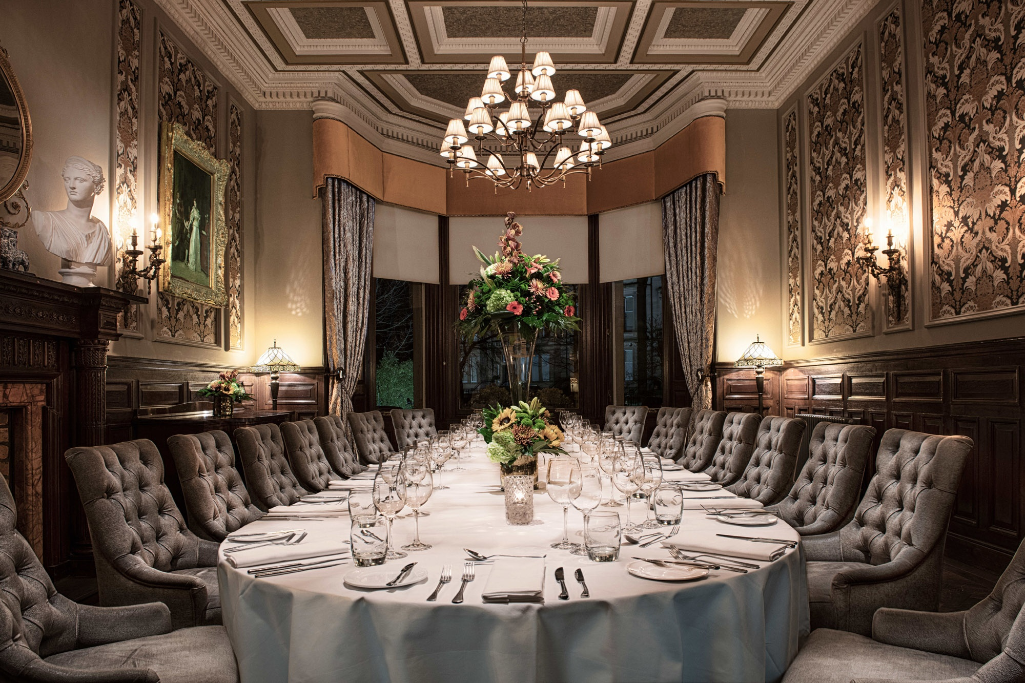 A private dining room for a murder mystery event at the Bonham Hotel in Edinburgh