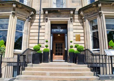 Outside front steps of the Bonham Hotel in Edinburgh