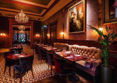 A section of the restaurant at the Bonham Hotel in Edinburgh that can be hired for a murder mystery dinner