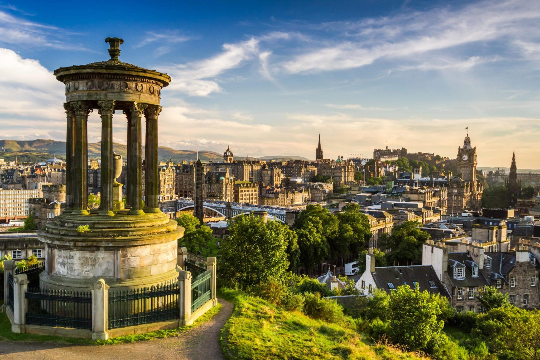 Edinburgh city view on sunny day