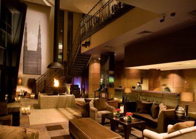 Malmaison Liverpool reception and lobby at night